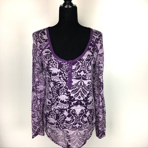 Free People intimately long sleeve button top L